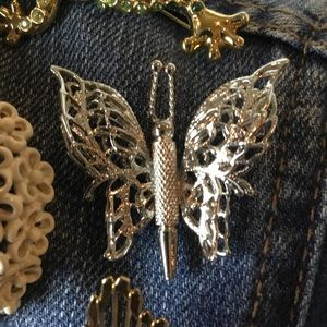 Vintage Monet Filigree Small Butterfly Brooch